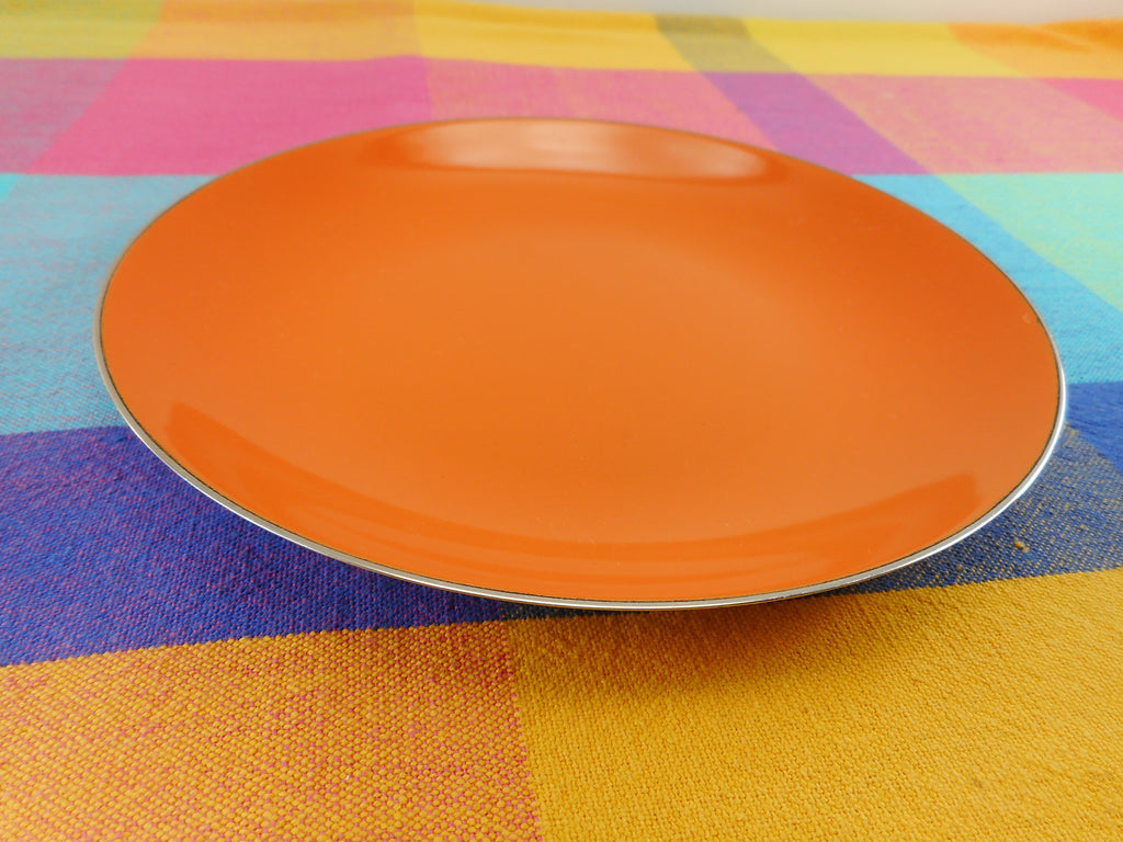 "Cathrineholm Norway Tangerine Orange Enamel Stainless Steel 7.5"" Plate Shallow Bowl"