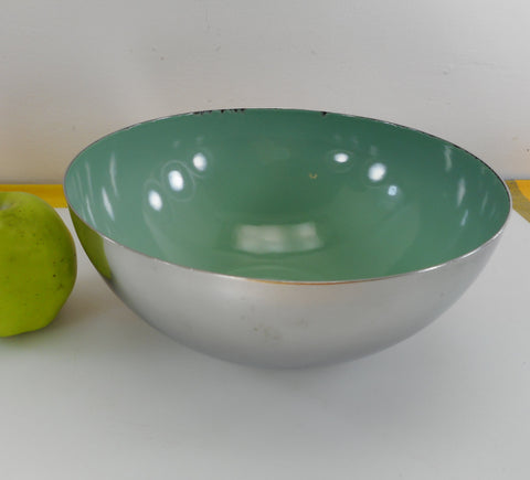 "Cathrineholm Norway Sea Foam Green Enamel Stainless Steel 9.5"" Bowl"
