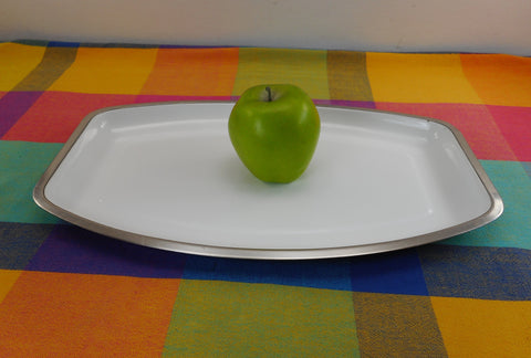 Cathrineholm Norway White Enamel Stainless Steel Serving Tray Platter MCM Vintage