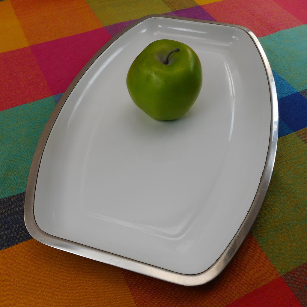 Cathrineholm Norway White Enamel Stainless Steel Oval Serving Tray Platter MCM Vintage