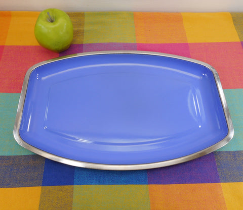Cathrineholm Norway Blue Enamel Stainless Steel Serving Tray Platter MCM Vintage