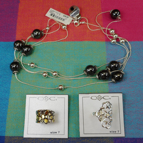 "Macy's NWT Jewelry 3 Lot - Alfani Bead 30"" Necklace & City by City Rings Size 7"