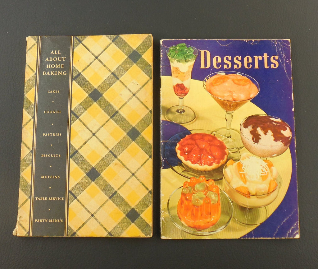Two Vintage Recipe Books - by General Foods - 1935 Desserts... 1940 All About Home Baking