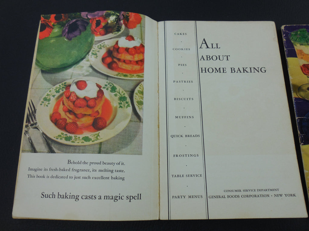 Two Vintage Recipe Books - by General Foods - 1935 Desserts... 1940 All About Home Baking interior