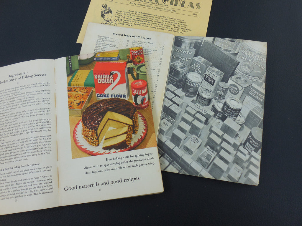 Two Vintage Recipe Books - by General Foods - 1935 Desserts... 1940 All About Home Baking cake