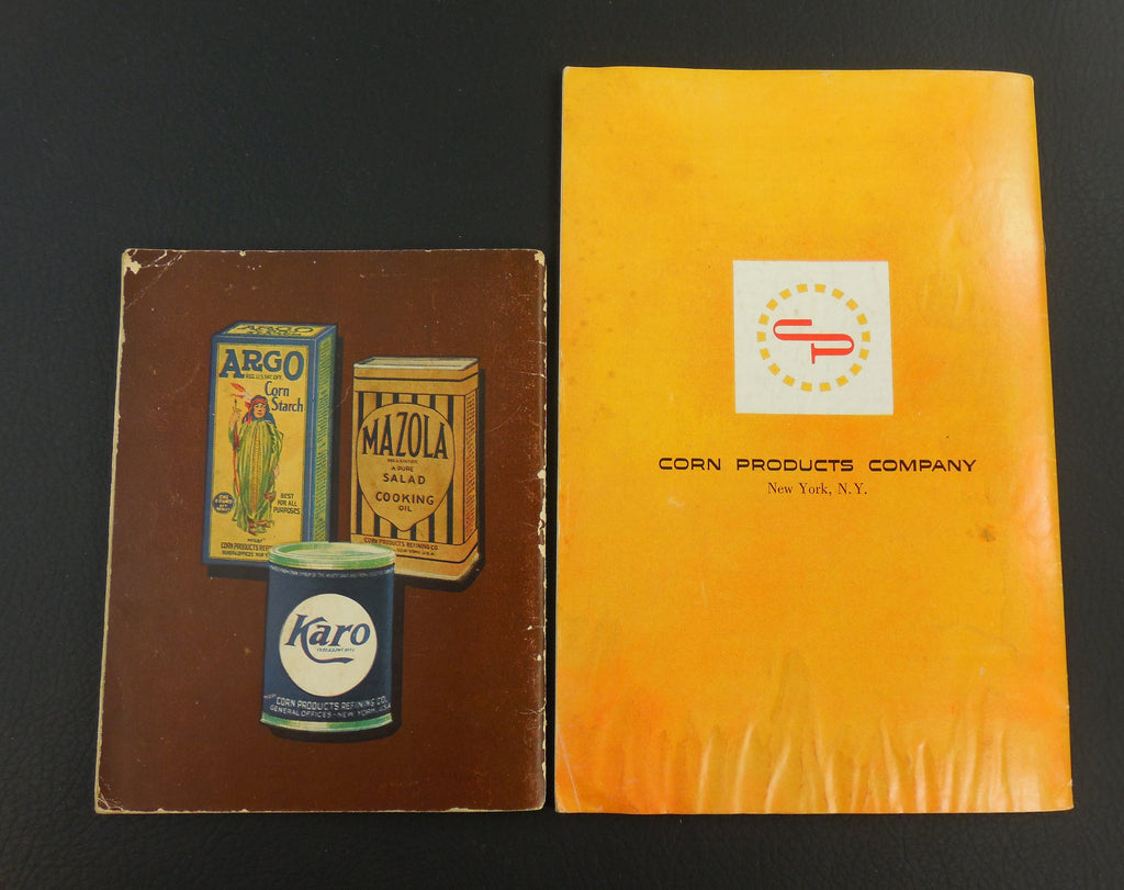 Two Vintage Recipe Booklets - Corn Products Refining Co. - 1959 Mazola Oil - 1930s Karo Argo Mazola back