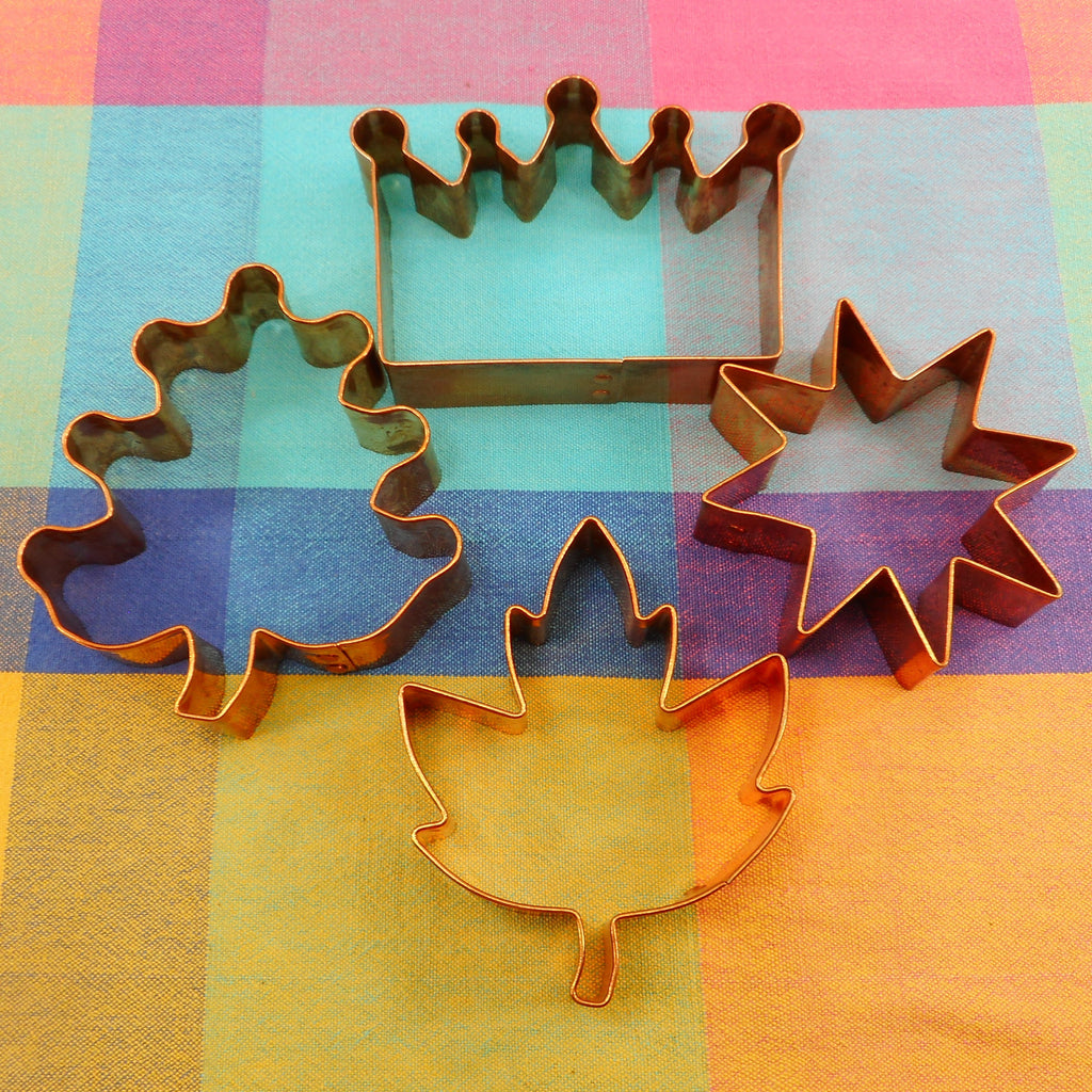 Crate & Barrel Vintage Solid Copper Cookie Cutters 4 Lot - Crown Star Leaf Tree