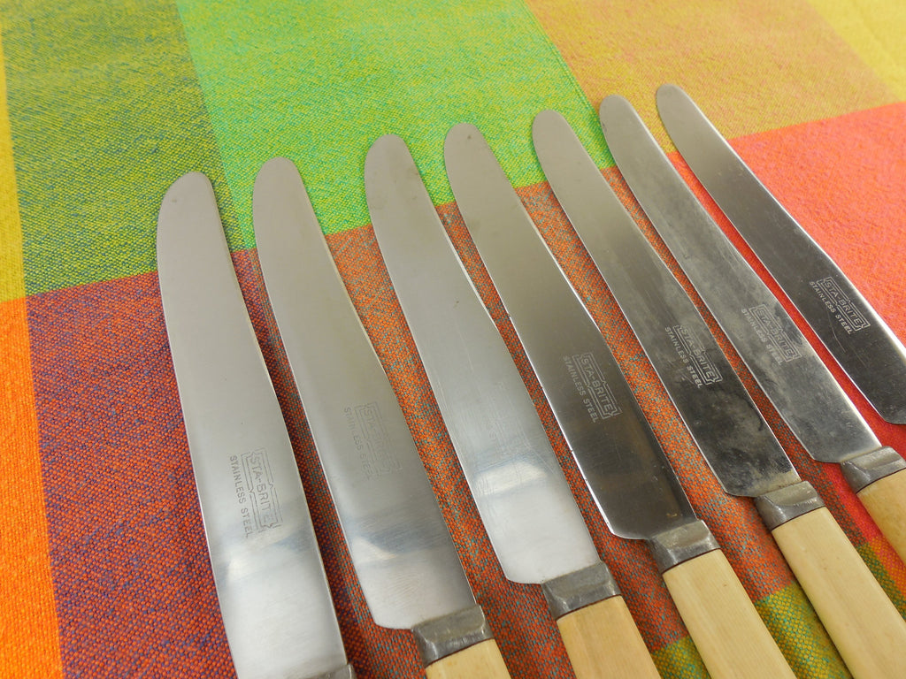 Celluloid Handle Dinner Knives 7 Set - Sta-Brite - Stainless & French Ivory blades