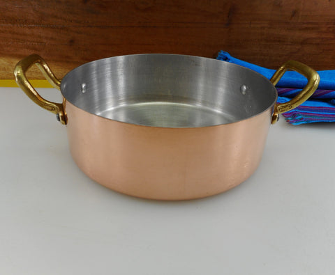 "Centuria Baumlin France - Unused Copper Clad Aluminum Brass 7"" Saute Casserole Pan"