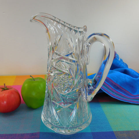 ABP American Brilliant Cut Glass Water Pitcher - Pinwheels Starburst 10""