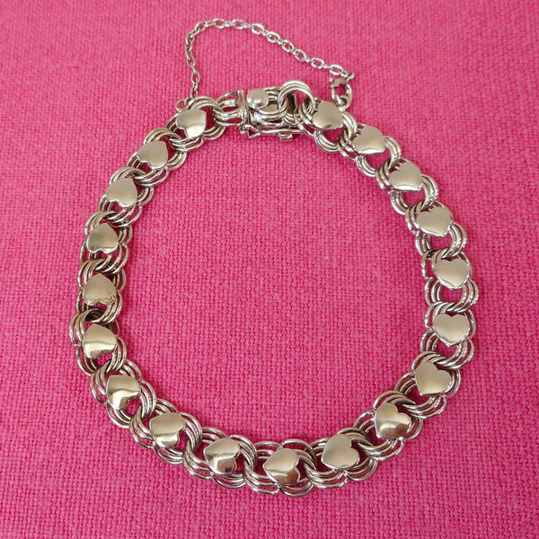 American Co. Sterling Silver Charm Bracelet Chain Link with Applied Hearts 7.5""
