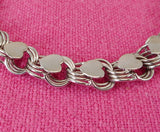 "American Co. Sterling Silver Charm Bracelet Chain Link with Applied Hearts 7.5"" Vintage"