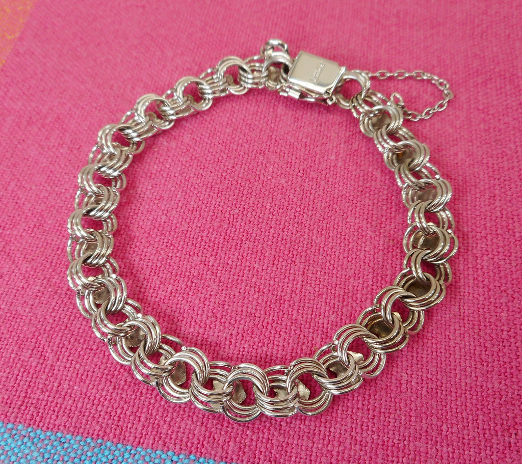"American Co. Sterling Silver Charm Bracelet Chain Link with Applied Hearts 7.5"" Estate Jewelry"