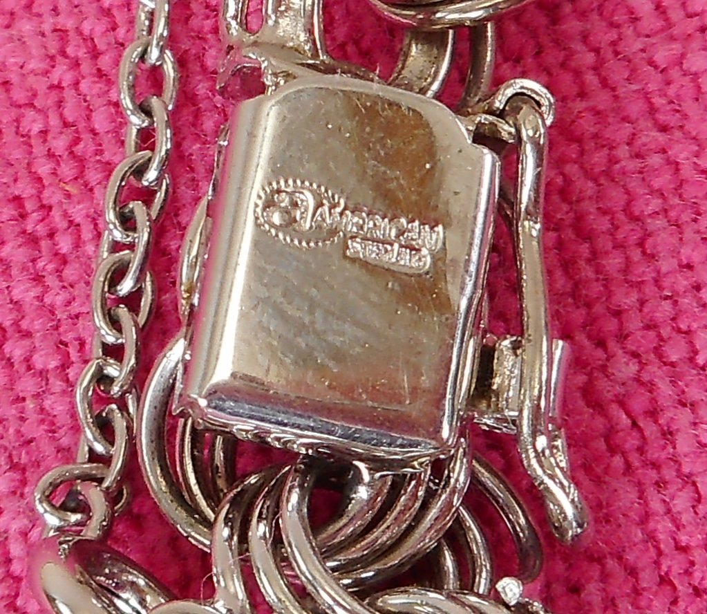 "American Co. Sterling Silver Charm Bracelet Chain Link with Applied Hearts 7.5"" Signed"
