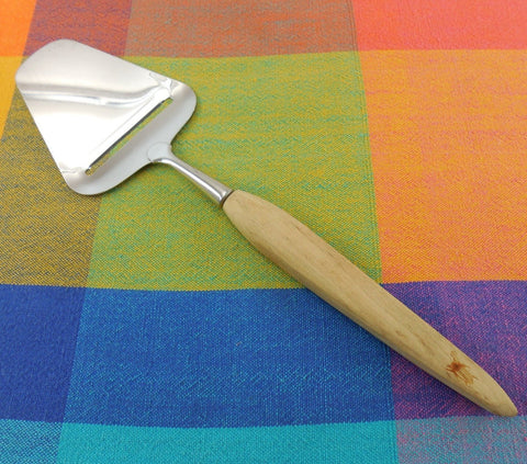 Beetle Mark Cheese Butter Plane Slicer Utensil - Stainless Wood Handle