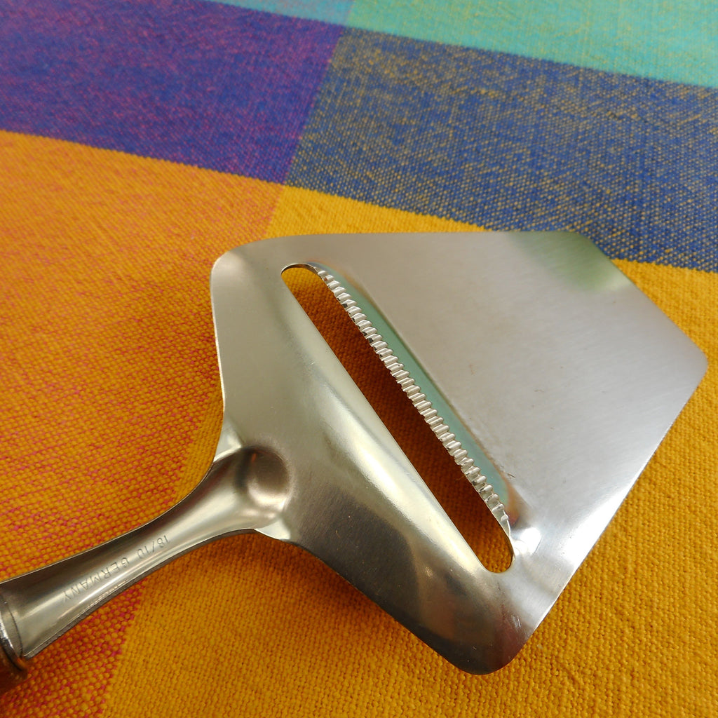 Unbranded Germany 18/10 Stainless Serrated Cheese Slicer Planer Teak Handle