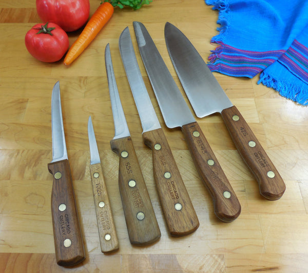 Chicago Cutlery USA Kitchen Knives 5 Set - Walnut/Stainless... 42S Chef, BT43 Carver, 66S Butcher, 65S Filet, 102S Paring - Bonus Boning