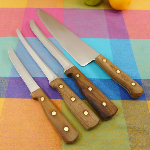 Chicago Cutlery USA 4 Kitchen Chef Knives Set - Stainless Walnut Handles - 44S 66S 78S 61S