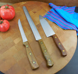 Chicago Cutlery USA 3 Kitchen Knives Stainless - Varnished Walnut Handles 41S 61S BT10