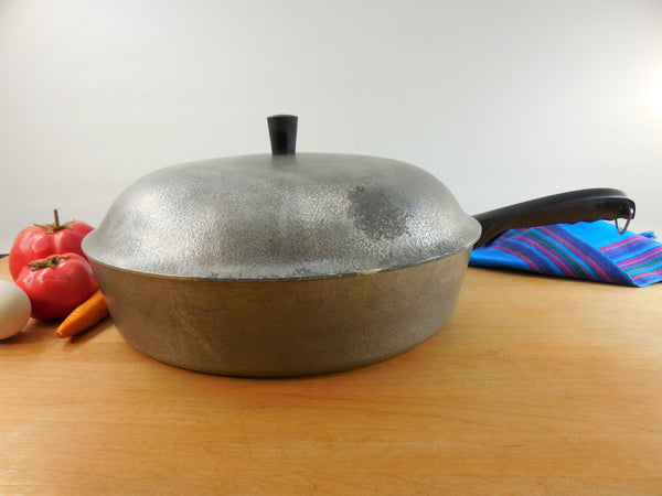 "Club Aluminum Cookware USA - Large 12"" Hammercraft Skillet & Lid Chicken Fryer - Vintage Mid Century"