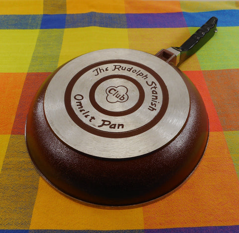 "Club Aluminum Omelet Pan Skillet - Rudolph Stanish Brown 10"" - Vintage USA Cookware"