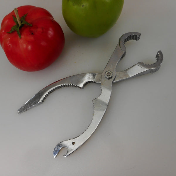 CMI Japan Chrome Bottle Jar Opener Kitchen Multi-tool Vintage