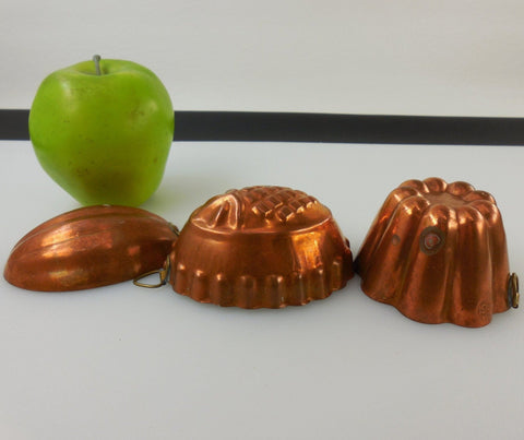 Small Copper Tin Food Molds Forms Pans - Vintage B&M Douro Portugal