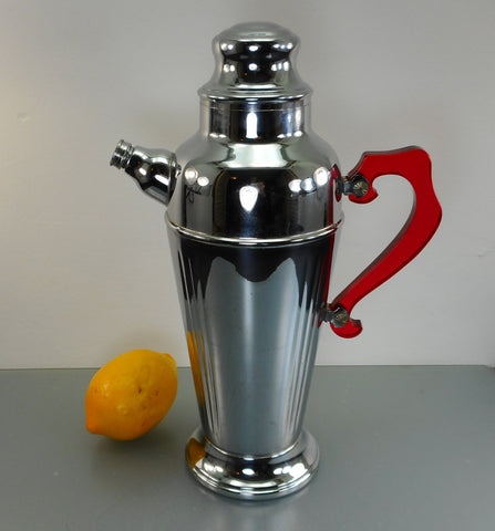 Art Deco Vintage Chrome Cocktail Shaker Martini Mixer - Red Clear Handle