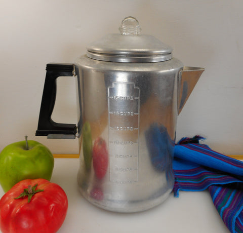 Unbranded Vintage Aluminum 16 Cup Coffee Percolator Pot Stove Top