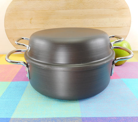 Commercial Cookware Toledo (Calphalon) 2-1/2 Quart Dutch Oven Pot & Domed Lid - Vintage Anodized Aluminum