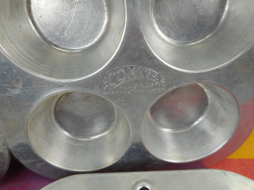Comet USA Vintage Aluminum Muffin Cupcake Pans - Set of 4 - 6 Hole Used