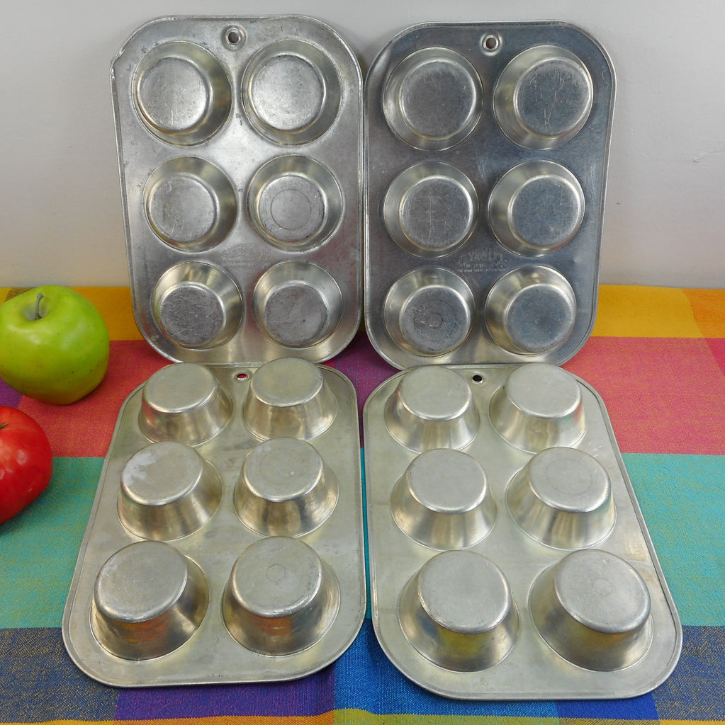 Comet USA Vintage Aluminum Muffin Cupcake Pans - Set of 4 - 6 Hole 1960s