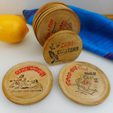 Comic Drink Coasters Set of 7 - Wood With Holder... Vintage Barware Humor