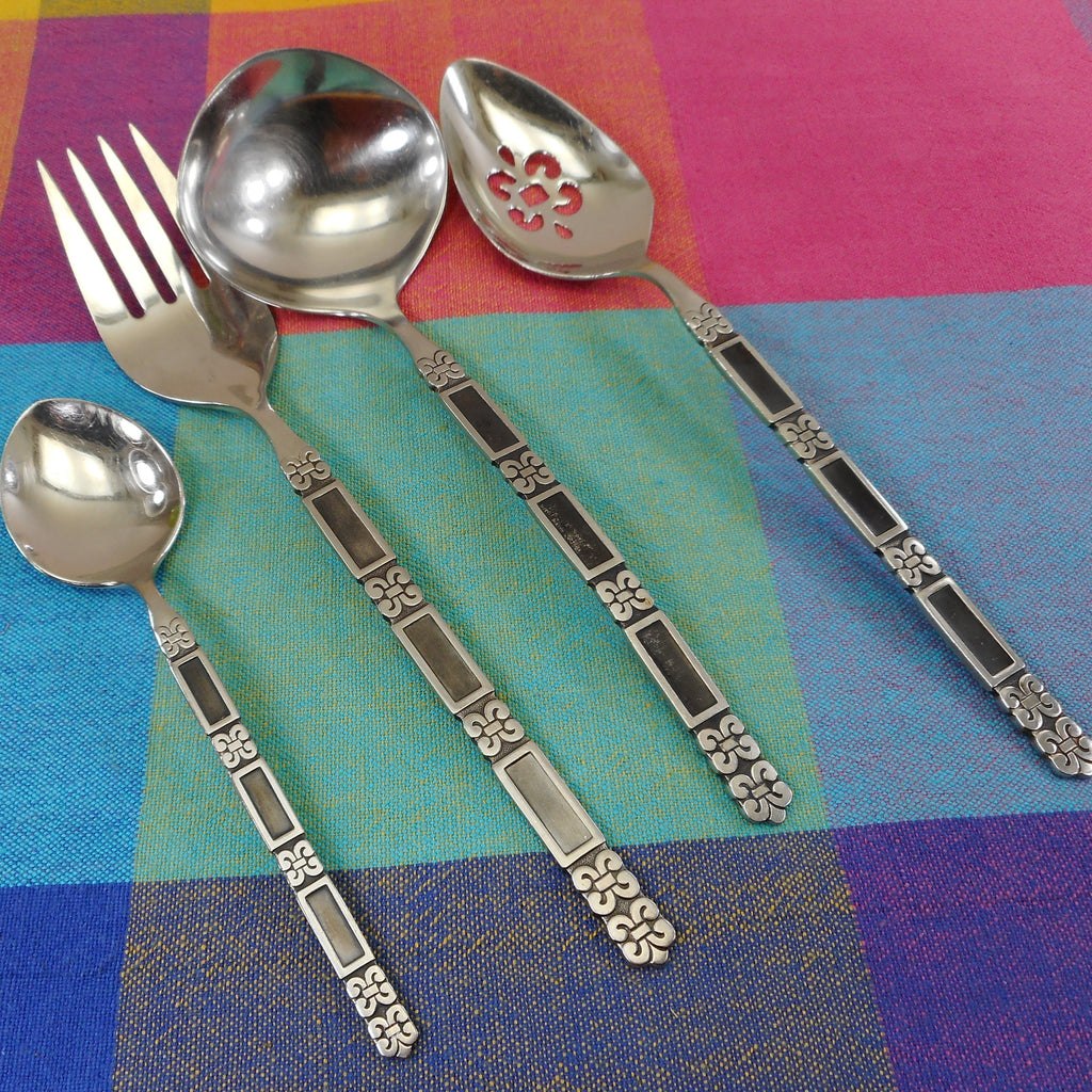 Oneida Community Stainless Flatware Madrid Black - 4 Serving Pieces