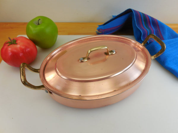 Centuria Baumlin France Style - Copper Clad Aluminum Brass Oval Au Gratin Pan and Lid