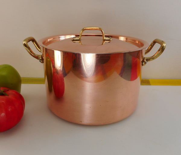 Centuria Baumlin France Style - Copper Clad Aluminum Brass 4 Quart Stock Pot & Lid