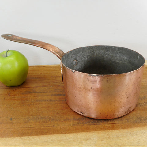 Antique Copper Tinned 1-1/2 Quart Saucepan Heart Hand Brass Dovetail Owner Marks Letters