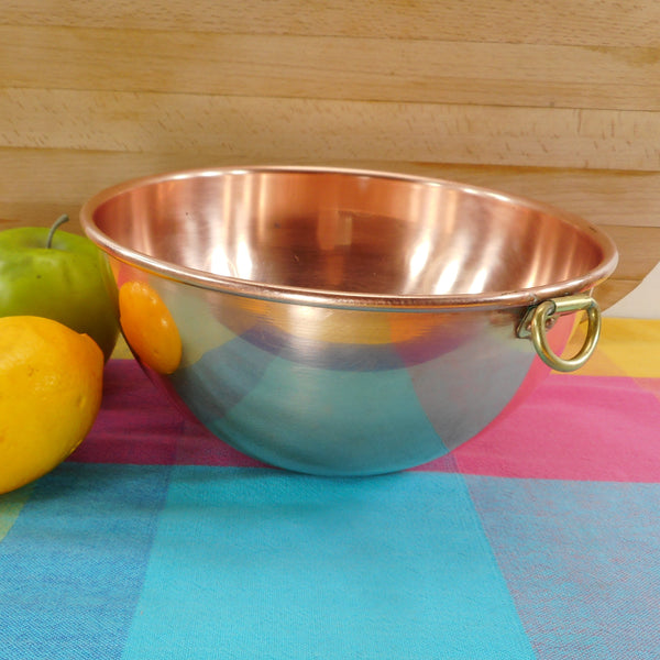B&M Douro 2 Quart Spun Copper Mixing Whisking Bowl Brass Ring