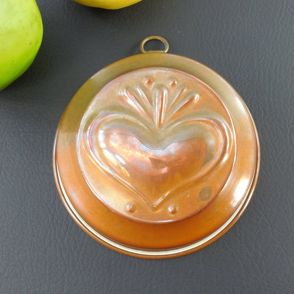 Vintage Copper Tin Food Mold Baking Pan - Heart