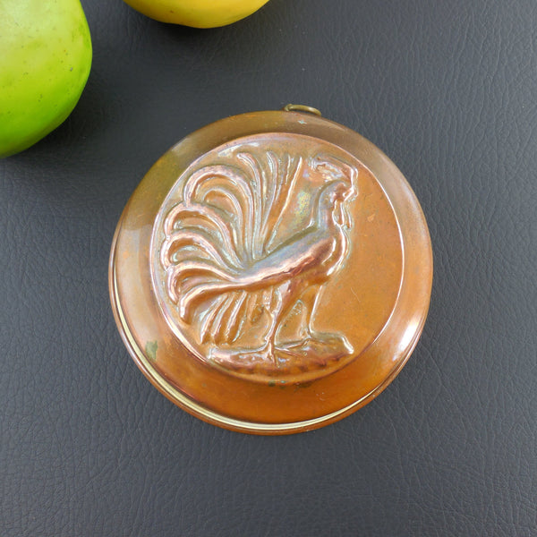 Vintage Copper Tin Food Mold Baking Pan - Rooster