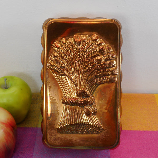 Copper Tin Embossed Wheat Food Jello Mold Kitchen Decor 1980's Korea