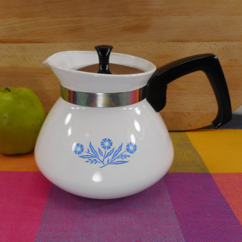 Corning Ware Cornflower Blue White P-104 Teapot Kettle 6 Cup Stainless Lid Steep Ball
