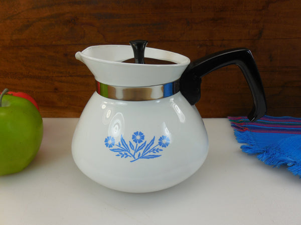 Corning Ware Cornflower Blue White P-104 Teapot Kettle 6 Cup Stainless Lid