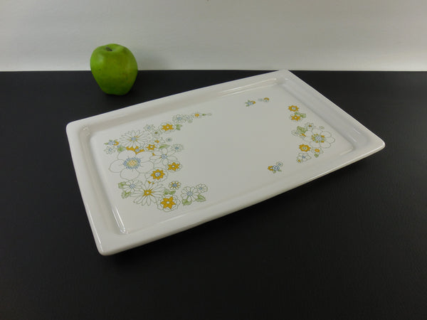 Vintage Corning Ware P-35-B Flower Floral Bouquet Broil Bake Serving Tray