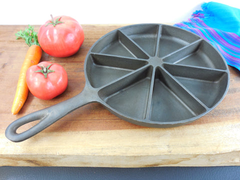 Unmarked Maker Cleaned Cast Iron Corn Bread Skillet - Patent Pending - 8 Wedge Section