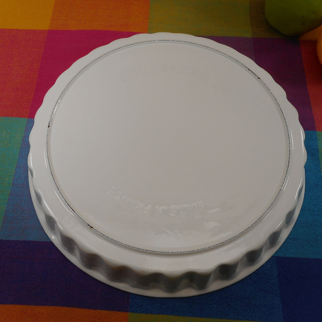 "Cousances France White Enamel Cast Iron #26 Pie Tart Quiche Pan 10.5"" Vintage"