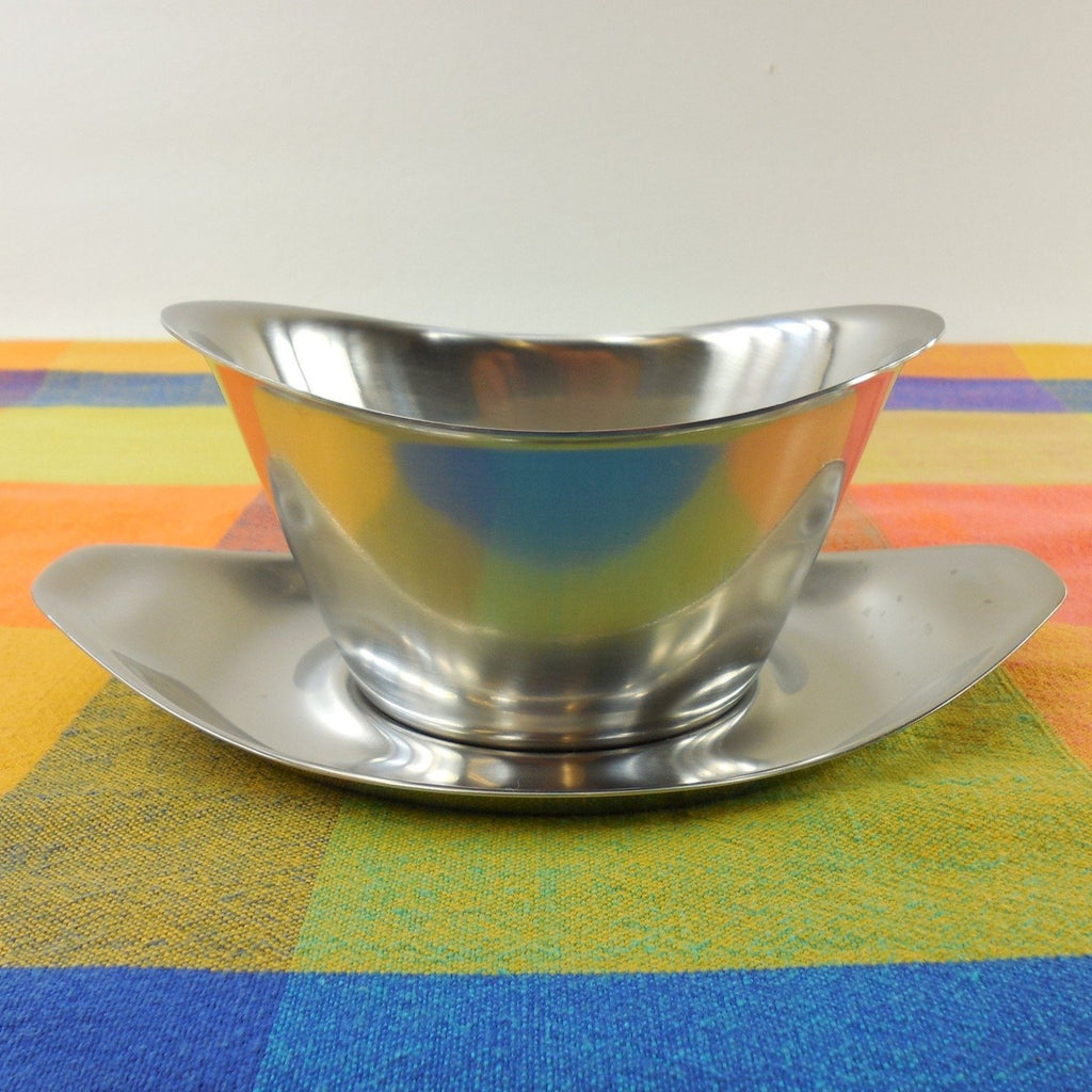 WMF Cromargan Germany Fraser's #6218 Stainless Two Piece Gravy Boat - Mid Century Minimalist Modern