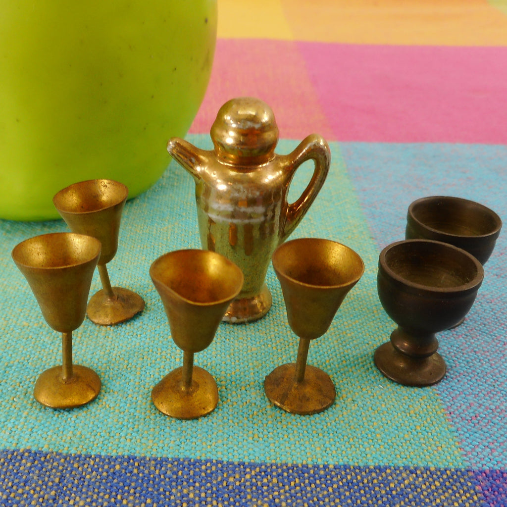 "Miniature 1-1/2"" Cocktail Shaker Japan & Brass Goblets - Toy Doll House"