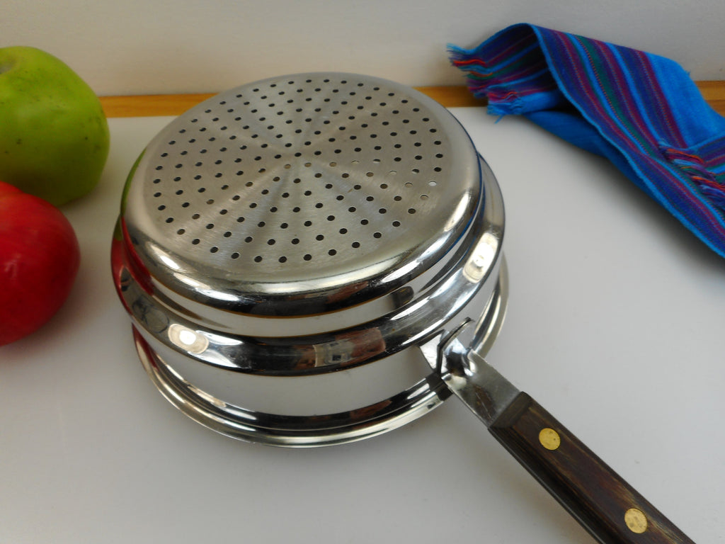 "Cuisinart France Stainless Steamer Insert for Sauce Pan 7"" - Wood Handle Vintage"