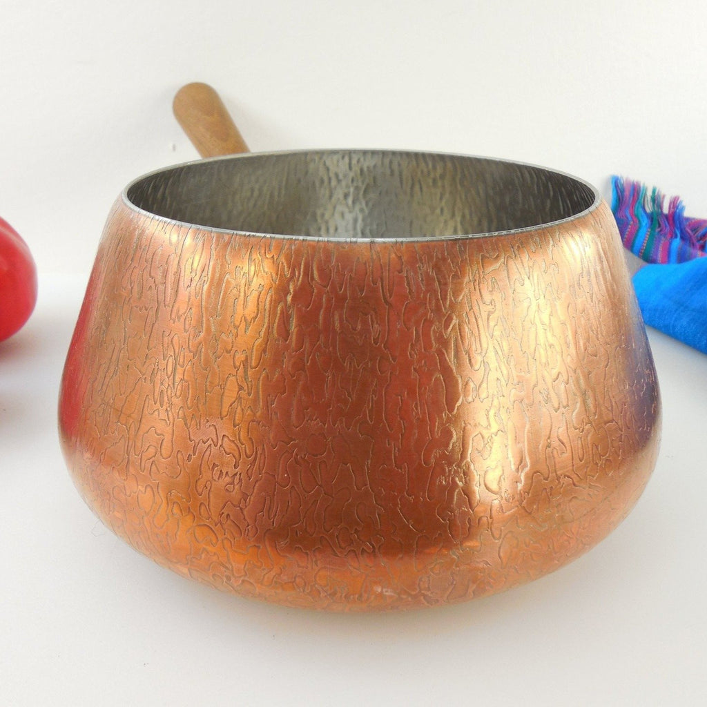 Spring Culinox Switzerland Fondue Pot - Copper Stainless Teak Handle 1960's
